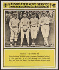 Baseball Collectibles:Others, 1930's Eddie Collins, Home Run Baker, Etc. Associated News ServicePoster....