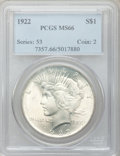 Peace Dollars: , 1922 $1 MS66 PCGS. PCGS Population (603/21). NGC Census: (1431/36).Mintage: 51,737,000. Numismedia Wsl. Price for problem ...