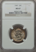 Washington Quarters: , 1947 25C MS67 NGC. NGC Census: (192/0). PCGS Population (59/0).Mintage: 22,556,000. Numismedia Wsl. Price for problem free...