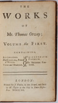 Books:Literature Pre-1900, Thomas Otway. The Works of Mr. Thomas Otway: Volume theFirst. London: J. Tonfon, 1712. Original binding with gilt...