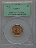 Indian Cents: , 1908 1C MS65 Red PCGS. PCGS Population (228/45). NGC Census: (140/34). Mintage: 32,327,988. Numismedia Wsl. Price for probl...