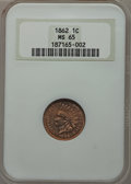 Indian Cents: , 1862 1C MS65 NGC. NGC Census: (177/41). PCGS Population (224/73).Mintage: 28,075,000. Numismedia Wsl. Price for problem fr...