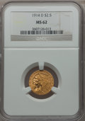 Indian Quarter Eagles: , 1914-D $2 1/2 MS62 NGC. NGC Census: (3453/2824). PCGS Population(1691/1819). Mintage: 448,000. Numismedia Wsl. Price for p...