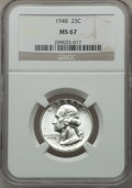 Washington Quarters: , 1948 25C MS67 NGC. NGC Census: (296/1). PCGS Population (75/1).Mintage: 35,196,000. Numismedia Wsl. Price for problem free...