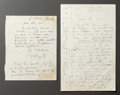Other:European, TWO LETTERS FROM RENOIR TO ALINE ARRANGING THEIR RENDEZVOUS INDIEPPE. THE RENOIR COLLECTION. ... (Total: 2 Items)