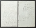 , TWO LETTERS FROM RENOIR TO ALINE CONCERNING HIS UPCOMING TRAVELS TOPARIS. THE RENOIR COLLECTION. ... (Total: 2 Items)