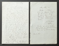 TWO LETTERS FROM RENOIR TO ALINE CONCERNING HIS UPCOMING TRAVELS TO PARIS  THE RENOIR COLLECTION