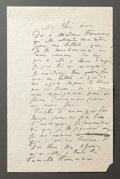 Other:European, A LETTER FROM RENOIR TO ALINE WITH INSTRUCTIONS TO SETTLE HISACCOUNT WITH MADAME FOURNAISE, PROPRIETOR OF RESTAURANT FOURNAIS...