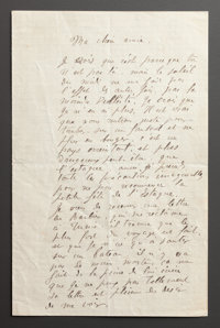 A LETTER FROM RENOIR TO ALINE RELAYING HIS TRAVELS TO NICE, MARSEILLE, HYÈRES AND MONTE CARLO IN THE SOUTH OF FRA...