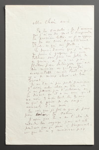 A LETTER FROM RENOIR TO ALINE ACKNOWLEDGING THE PROFESSIONAL HAZARDS OF BEING AN ARTIST  THE RENOIR COLLECTION<...