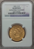 Liberty Eagles: , 1855 $10 -- Improperly Cleaned -- NGC Details. AU. NGC Census:(44/368). PCGS Population (53/96). Mintage: 121,701. Numisme...