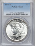 Peace Dollars, 1934-D $1 MS65 PCGS....