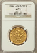 Liberty Eagles, 1854-O $10 Small Date AU55 NGC. Variety 1....