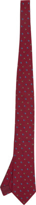 Hermes 9cm Dark Red with Blue Print Silk Tie