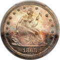 Proof Seated Quarters, 1868 25C PR66 Cameo PCGS....