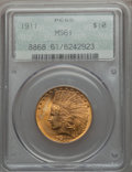 Indian Eagles, 1911 $10 MS61 PCGS. PCGS Population (845/4870). NGC Census:(2073/6118). Mintage: 505,595. Numismedia Wsl. Price for proble...
