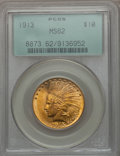 Indian Eagles, 1913 $10 MS62 PCGS. PCGS Population (1698/1118). NGC Census:(1876/1175). Mintage: 442,071. Numismedia Wsl. Price for probl...