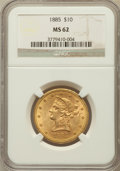 Liberty Eagles: , 1885 $10 MS62 NGC. NGC Census: (140/33). PCGS Population (120/57).Mintage: 253,400. Numismedia Wsl. Price for problem free...