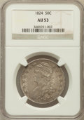 Bust Half Dollars: , 1824 50C AU53 NGC. NGC Census: (61/536). PCGS Population (75/412).Mintage: 3,504,954. Numismedia Wsl. Price for problem fr...