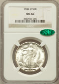 Walking Liberty Half Dollars: , 1942-D 50C MS66 NGC. CAC. NGC Census: (867/140). PCGS Population(1113/139). Mintage: 10,973,800. Numismedia Wsl. Price for...