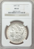 Morgan Dollars: , 1899 $1 MS62 NGC. NGC Census: (1100/6098). PCGS Population(1327/8597). Mintage: 330,846. Numismedia Wsl. Price for problem...