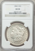 Morgan Dollars: , 1884-S $1 AU50 NGC. NGC Census: (831/4433). PCGS Population(1059/3525). Mintage: 3,200,000. Numismedia Wsl. Price for prob...