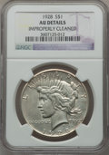 Peace Dollars: , 1928 $1 -- Improperly Cleaned -- NGC Details. AU. NGC Census:(90/5757). PCGS Population (174/7713). Mintage: 360,649. Numi...