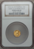 California Gold Charms, 1915 California Minerva Octagonal Dollar MS61 NGC. Hart's Coins of the West....