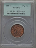 Half Cents, 1854 1/2 C MS64 Red PCGS. C-1, B-1, R.1....
