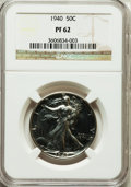 Proof Walking Liberty Half Dollars: , 1940 50C PR62 NGC. NGC Census: (29/2181). PCGS Population(47/3066). Mintage: 11,279. Numismedia Wsl. Price for problemfre...