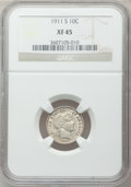 Barber Dimes: , 1911-S 10C XF45 NGC. NGC Census: (1/175). PCGS Population (3/250).Mintage: 3,520,000. Numismedia Wsl. Price for problem fr...