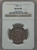Large Cents, 1844 1C MS64 Brown NGC. N-4, High R.1....
