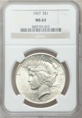 Peace Dollars: , 1927 $1 MS63 NGC. NGC Census: (1546/1095). PCGS Population(2327/2002). Mintage: 848,000. Numismedia Wsl. Price for problem...