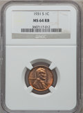 Lincoln Cents, 1931-S 1C MS64 Red and Brown NGC. NGC Census: (696/290). PCGSPopulation (875/120). Mintage: 866,000. Numismedia Wsl. Price...