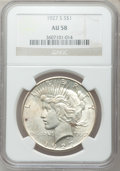 Peace Dollars: , 1927-S $1 AU58 NGC. NGC Census: (187/2883). PCGS Population(186/4388). Mintage: 866,000. Numismedia Wsl. Price for problem...
