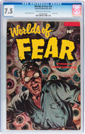 Golden Age (1938-1955):Horror, Worlds of Fear #10 (Fawcett Publications, 1953) CGC VF- 7.5 Creamto off-white pages....