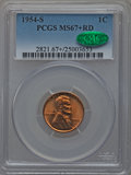 Lincoln Cents, 1954-S 1C MS67+ Red PCGS. CAC....