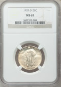 Standing Liberty Quarters: , 1929-D 25C MS63 NGC. NGC Census: (154/336). PCGS Population(213/490). Mintage: 1,358,000. Numismedia Wsl. Price for proble...