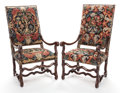Furniture : French, A PAIR OF FRENCH PROVINCIAL WALNUT HIGH-BACK ARMCHAIRS WITHNEEDLEPOINT UPHOLSTERY. Late 19th/early 20th century. 51 inches ...