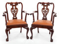 Furniture , A PAIR OF GEORGE III-STYLE MAHOGANY ARMCHAIRS. 20th century. 38 inches high (96.5 cm). PROPERTY FROM A PRIVATE TEXAS COLLE... (Total: 2 Items)
