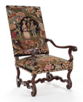 Furniture , A CONTINENTAL BAROQUE-STYLE OPEN ARMCHAIR WITH NEEDLEPOINT UPHOLSTERY. Late 18th century, later upholstery. 48 inches hi...