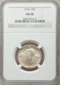 Standing Liberty Quarters: , 1918 25C AU58 NGC. NGC Census: (50/323). PCGS Population (97/402).Mintage: 14,240,000. Numismedia Wsl. Price for problem f...