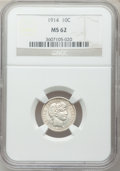 Barber Dimes: , 1914 10C MS62 NGC. NGC Census: (68/601). PCGS Population (103/693).Mintage: 17,360,656. Numismedia Wsl. Price for problem ...