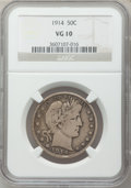 Barber Half Dollars: , 1914 50C VG10 NGC. NGC Census: (21/156). PCGS Population (130/346).Mintage: 124,300. Numismedia Wsl. Price for problem fre...