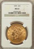 Liberty Double Eagles: , 1895 $20 MS63 NGC. NGC Census: (3267/508). PCGS Population(1709/244). Mintage: 1,114,656. Numismedia Wsl. Price for proble...