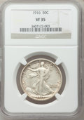 Walking Liberty Half Dollars: , 1916 50C VF35 NGC. NGC Census: (7/1170). PCGS Population (15/1470).Mintage: 608,000. Numismedia Wsl. Price for problem fre...