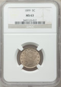 Liberty Nickels: , 1899 5C MS63 NGC. NGC Census: (129/448). PCGS Population (172/585).Mintage: 26,029,032. Numismedia Wsl. Price for problem ...