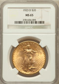 Saint-Gaudens Double Eagles: , 1923-D $20 MS65 NGC. NGC Census: (1636/841). PCGS Population(2393/1588). Mintage: 1,702,250. Numismedia Wsl. Price for pro...
