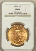 Saint-Gaudens Double Eagles: , 1920 $20 MS64 NGC. NGC Census: (406/7). PCGS Population (821/1).Mintage: 228,250. Numismedia Wsl. Price for problem free N...