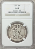 Walking Liberty Half Dollars, 1921 50C AG3 NGC. NGC Census: (0/848). PCGS Population (74/1400).Mintage: 246,000. Numismedia Wsl. Price for problem free ...